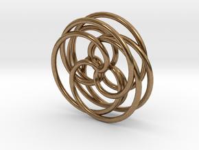 Spirograph Pendant (3D) in Natural Brass