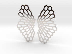 Honeycomb Butterfly Earrings / Pendant in Rhodium Plated Brass