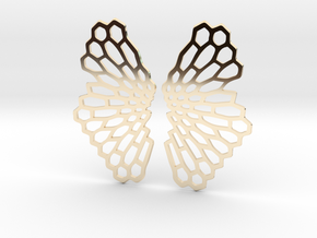 Honeycomb Butterfly Earrings / Pendant in 14k Gold Plated Brass