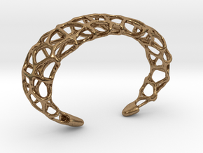 Cuff Design - Voronoi Mesh with Large Cells in Natural Brass