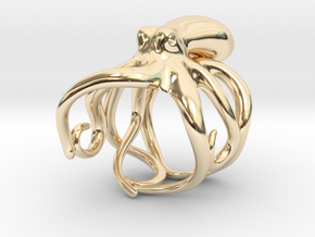 Octopus Ring 19mm in 14k Gold Plated Brass