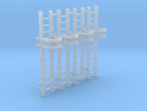 'HO Scale' - (4) 10' Caged Ladder in Smooth Fine Detail Plastic
