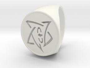 Elder Sign Signet Ring Size 11 in White Natural Versatile Plastic