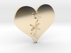 Fixed Heart  in 14k Gold Plated Brass