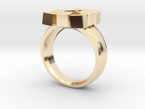 Irregular Cube Ring in 14k Gold Plated Brass