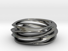 Triple Swirl Size 6 US in Fine Detail Polished Silver