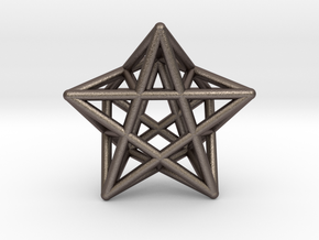 Star Pendant #2 in Polished Bronzed Silver Steel