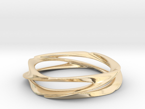 Single Swirl Size 7.5 US in 14k Gold Plated Brass