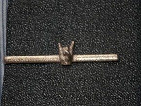 Horns Up Tie Clip in Polished Bronzed Silver Steel