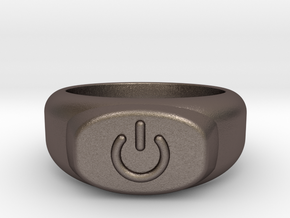 Power Ring  in Polished Bronzed Silver Steel