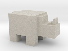 Cubicle Rhino in Natural Sandstone