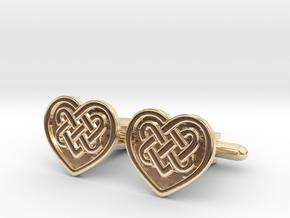 Heart Cufflink in 14k Gold Plated Brass