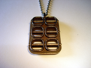 Skewed Necklace Pendant in Polished Bronzed Silver Steel