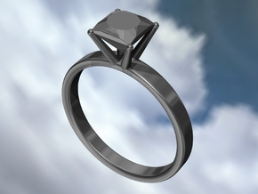 Metal Diamond Ring - US Size 6 in Polished Silver