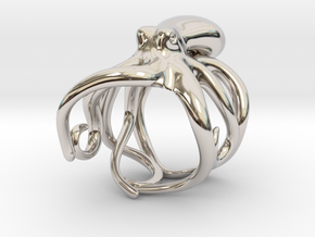 Octopus Ring 20mm in Rhodium Plated Brass