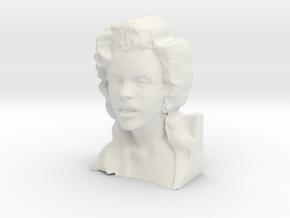 Marilyn Monroe Bust 9cm in White Natural Versatile Plastic