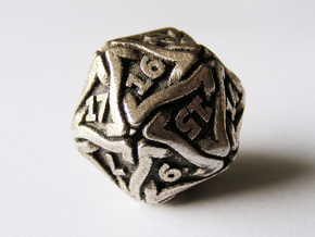 'Twined' Dice D20 Gaming Die (24 mm) in Polished Bronzed Silver Steel