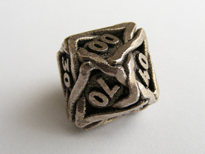 'Twined' Dice 10D10 (Decader) Gaming Die in Polished Bronzed Silver Steel