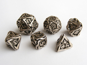 'Twined' Dice Gaming Die Set (6 dice) in Polished Bronzed Silver Steel
