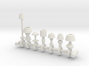 HO Scale lamp assortment in White Natural Versatile Plastic