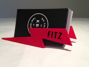 Personalize-able Lightning Bolt Business Card Hold in Red Processed Versatile Plastic