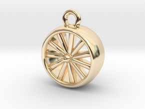 Jet Engine Pendant in 14k Gold Plated Brass