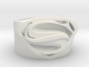 Superman Ring - Man Of Steel Ring US11 in White Natural Versatile Plastic