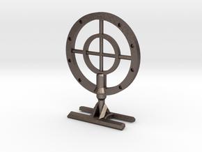 WW2 Machine Gun sight for bike handlebars in Polished Bronzed Silver Steel