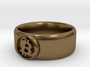 Bitcoin Ring (BTC) - Size 9.0 (U.S., 18.95mm dia) in Natural Bronze