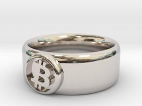 Bitcoin Ring (BTC) - Size 8.5 (U.S. 18.54mm dia) in Rhodium Plated Brass