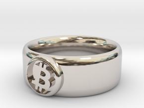 Bitcoin Ring (BTC) - Size 9.5 (U.S. 19.35mm dia) in Rhodium Plated Brass