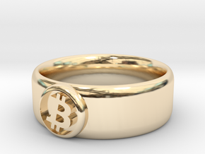 Bitcoin Ring (BTC) - Size 12.0 (U.S. 21.39mm dia) in 14k Gold Plated Brass