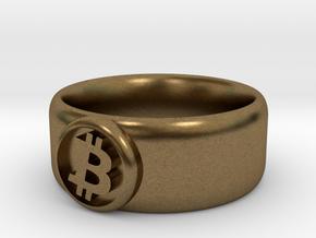 Bitcoin Ring (BTC) - Size 8.0 (U.S. 18.14mm dia) in Natural Bronze