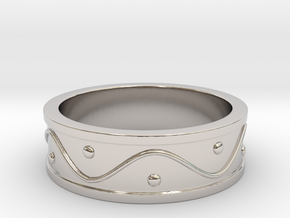 Ring Dots and Wave in Rhodium Plated Brass