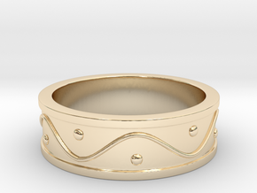 Ring Dots and Wave in 14K Yellow Gold