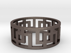 Geometric Ring - Rugged Steel Ring for Him in Polished Bronzed Silver Steel: 11 / 64