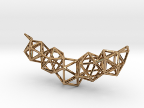 Icosahedron Frame Geometry Pendent in Polished Brass