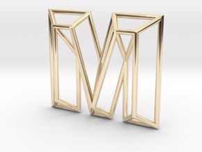 M Pendant in 14k Gold Plated