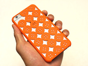 Button iPhone6 case for 4.7inch in Orange Strong & Flexible Polished
