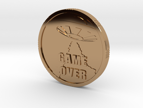 2015 HEADS n TAILS Arcade / Pinball Coin in Polished Brass