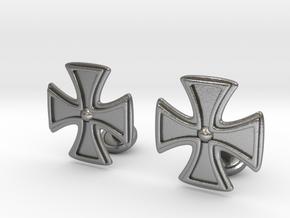 Designer Cross Cufflink in Natural Silver