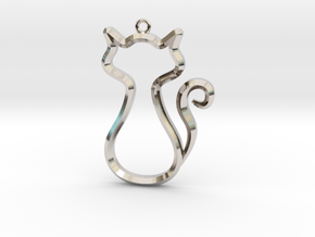 Cat Pendant in Rhodium Plated Brass