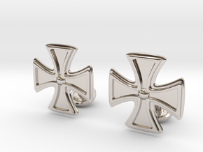 Designer Cross Cufflink in Rhodium Plated Brass