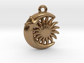 Sun&Moon&Star Pendant in Natural Brass
