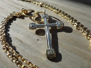 Cubed Cross in 18k Gold Plated Brass