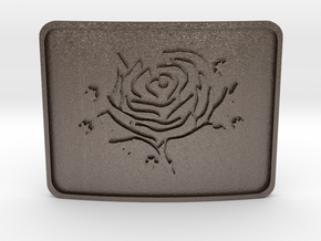 Cold Roses Belt Buckle in Polished Bronzed Silver Steel