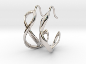 Waves Earrings in Rhodium Plated Brass