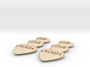 Live Love Laugh Hearts Earrings in 14k Gold Plated Brass