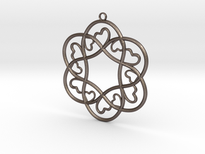 Little Hearts Pendant in Polished Bronzed Silver Steel