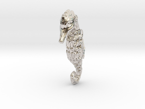 Seahorse Pendant in Rhodium Plated Brass